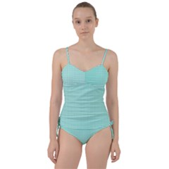 Tiffany Aqua Blue Candy Hearts On White Sweetheart Tankini Set