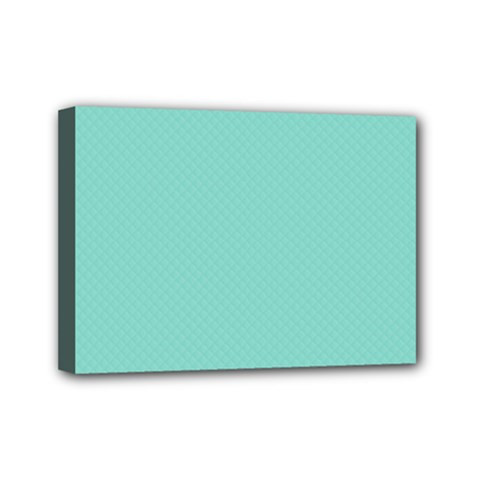 Tiffany Aqua Blue Puffy Quilted Pattern Mini Canvas 7  X 5  by PodArtist