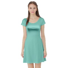 Tiffany Aqua Blue Puffy Quilted Pattern Short Sleeve Skater Dress by PodArtist