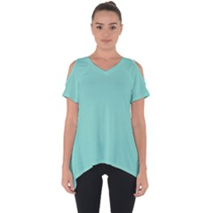 Tiffany Aqua Blue Puffy Quilted Pattern Cut Out Side Drop Tee by PodArtist