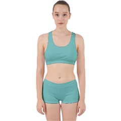 Tiffany Aqua Blue Puffy Quilted Pattern Work It Out Sports Bra Set