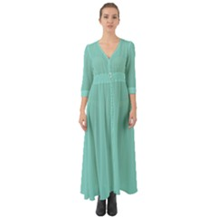 Tiffany Aqua Blue Puffy Quilted Pattern Button Up Boho Maxi Dress by PodArtist