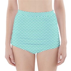 Tiffany Aqua Blue Chevron Zig Zag High-waisted Bikini Bottoms by PodArtist