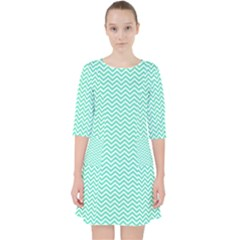 Tiffany Aqua Blue Chevron Zig Zag Pocket Dress by PodArtist