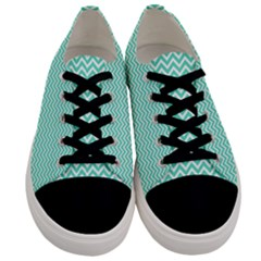 Tiffany Aqua Blue Chevron Zig Zag Men s Low Top Canvas Sneakers