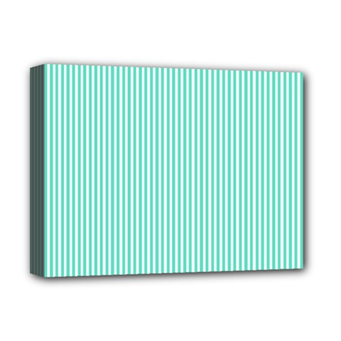 Classy Tiffany Aqua Blue Sailor Stripes Deluxe Canvas 16  X 12   by PodArtist