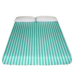 Classy Tiffany Aqua Blue Sailor Stripes Fitted Sheet (king Size) by PodArtist