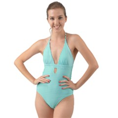 Classy Tiffany Aqua Blue Sailor Stripes Halter Cut Out One Piece Swimsuit