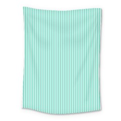 Classy Tiffany Aqua Blue Sailor Stripes Medium Tapestry by PodArtist