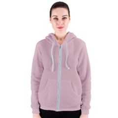 Baby Pink Stitched And Quilted Pattern Women s Zipper Hoodie by PodArtist
