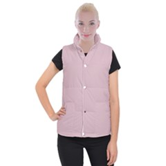 Baby Pink Stitched And Quilted Pattern Women s Button Up Puffer Vest by PodArtist