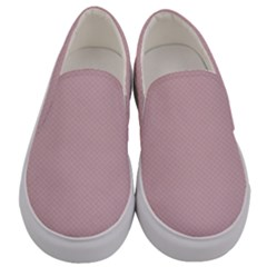 Baby Pink Stitched And Quilted Pattern Men s Canvas Slip Ons