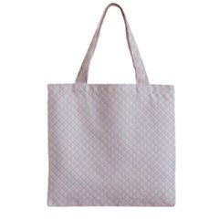 Bright White Stitched And Quilted Pattern Zipper Grocery Tote Bag by PodArtist
