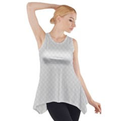 Bright White Stitched And Quilted Pattern Side Drop Tank Tunic by PodArtist