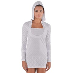 Bright White Stitched And Quilted Pattern Long Sleeve Hooded T Shirt by PodArtist