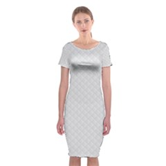 Bright White Stitched And Quilted Pattern Classic Short Sleeve Midi Dress by PodArtist