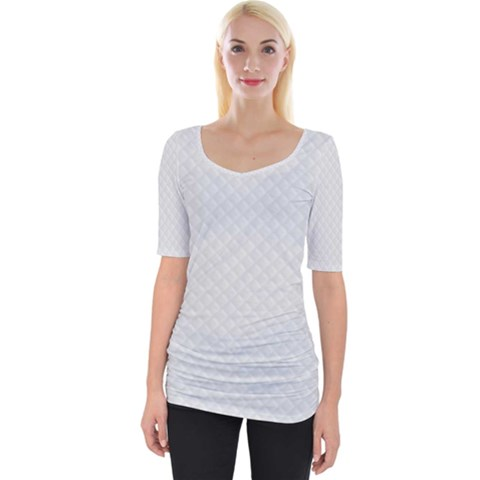 Bright White Stitched And Quilted Pattern Wide Neckline Tee by PodArtist
