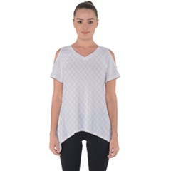 Bright White Stitched And Quilted Pattern Cut Out Side Drop Tee by PodArtist