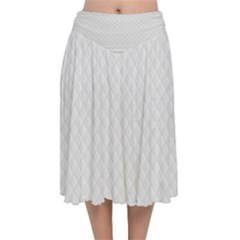 Bright White Stitched And Quilted Pattern Velvet Flared Midi Skirt by PodArtist