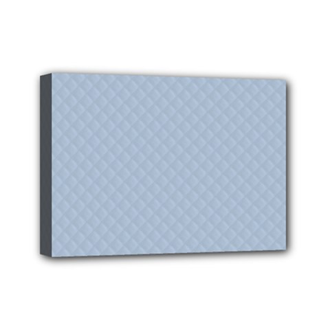 Powder Blue Stitched And Quilted Pattern Mini Canvas 7  X 5  by PodArtist