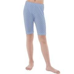 Powder Blue Stitched And Quilted Pattern Kids  Mid Length Swim Shorts by PodArtist