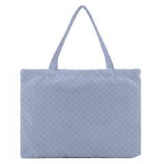 Powder Blue Stitched And Quilted Pattern Zipper Medium Tote Bag by PodArtist