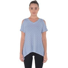 Powder Blue Stitched And Quilted Pattern Cut Out Side Drop Tee by PodArtist