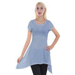 Powder Blue Stitched And Quilted Pattern Short Sleeve Side Drop Tunic by PodArtist