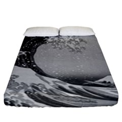 Black And White Japanese Great Wave Off Kanagawa By Hokusai Fitted Sheet (king Size) by PodArtist