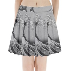 Black And White Japanese Great Wave Off Kanagawa By Hokusai Pleated Mini Skirt by PodArtist