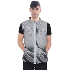 Black And White Japanese Great Wave Off Kanagawa By Hokusai Men s Puffer Vest by PodArtist