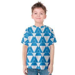 Blue & White Triangle Pattern  Kids  Cotton Tee by berwies
