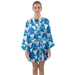 Blue & White Triangle Pattern  Long Sleeve Kimono Robe