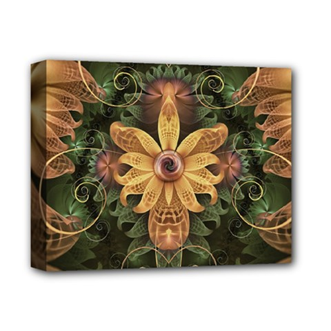 Beautiful Filigree Oxidized Copper Fractal Orchid Deluxe Canvas 14  X 11  by jayaprime