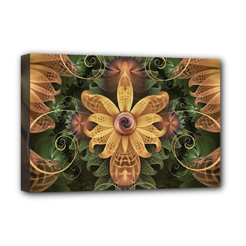 Beautiful Filigree Oxidized Copper Fractal Orchid Deluxe Canvas 18  X 12   by jayaprime