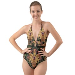Beautiful Filigree Oxidized Copper Fractal Orchid Halter Cut-out One Piece Swimsuit