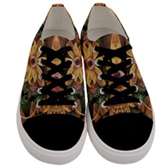 Beautiful Filigree Oxidized Copper Fractal Orchid Men s Low Top Canvas Sneakers