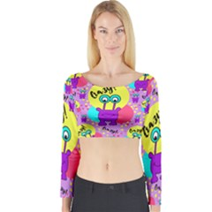 Crazy Long Sleeve Crop Top by gasi