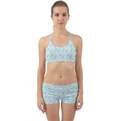 Pattern Back Web Sports Bra Set by gasi