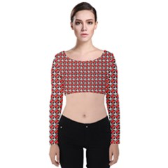 Pattern Velvet Long Sleeve Crop Top by gasi