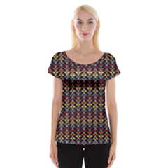 Native American Pattern Cap Sleeve Tops by Cveti