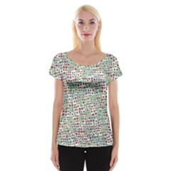 Pattern Cap Sleeve Tops by gasi