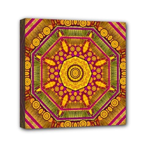Sunshine Mandala And Other Golden Planets Mini Canvas 6  X 6