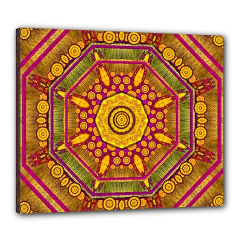 Sunshine Mandala And Other Golden Planets Canvas 24  X 20  by pepitasart