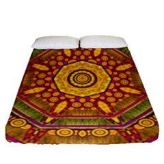 Sunshine Mandala And Other Golden Planets Fitted Sheet (queen Size) by pepitasart