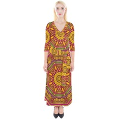 Sunshine Mandala And Other Golden Planets Quarter Sleeve Wrap Maxi Dress