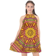 Sunshine Mandala And Other Golden Planets Halter Neckline Chiffon Dress  by pepitasart