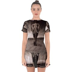 Elephant Black And White Animal Drop Hem Mini Chiffon Dress by Celenk