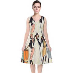 Man Ethic African People Collage V Neck Midi Sleeveless Dress