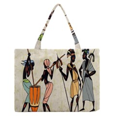 Man Ethic African People Collage Zipper Medium Tote Bag by Celenk